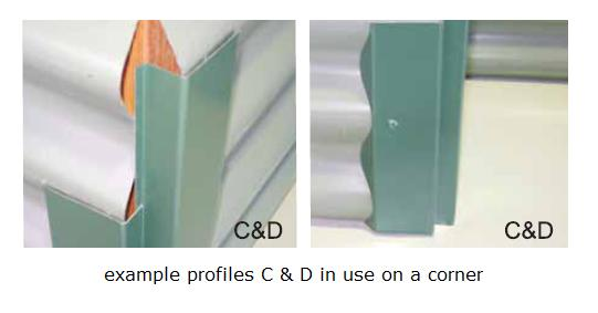C D profile Corro corner Colorbond steel horizontal cladding flashings