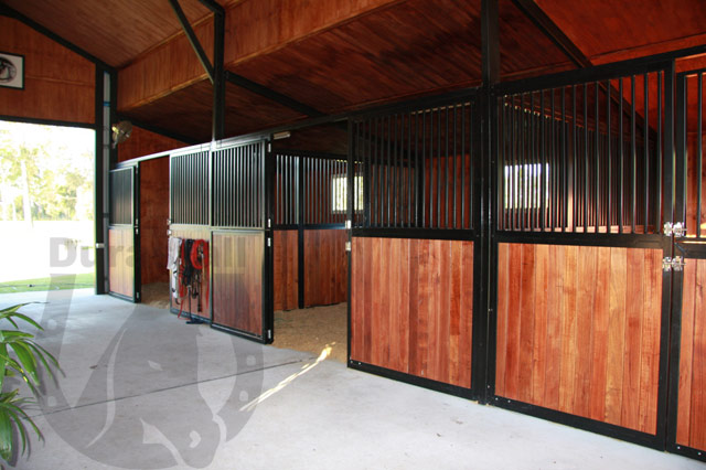 buy black powder coated stable panels with hardwood bar inserts by durastall
