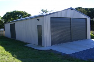 two rollmasta B&D roller doors in a Ranbuild Deluxe shed