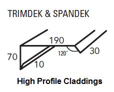 standard lysaght barge capping for high profile roofing trimdek spandek