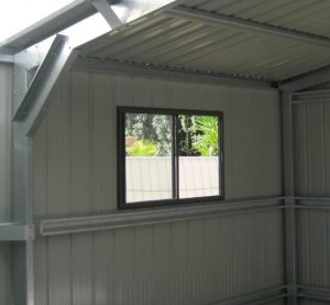 shed window from inside shed with low profile cladding