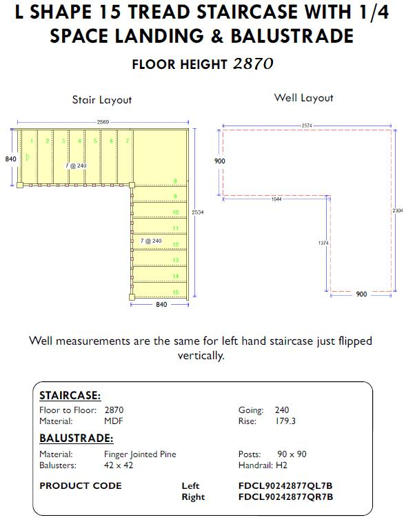 L Shape 15 tread Staircase with quarter space landing and balustrade shed home