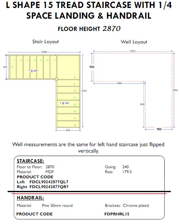 L Shape 15 tread Staircase with quarter space landing and handrail
