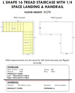 L Shape 16 tread Staircase with quarter space landing and handrail