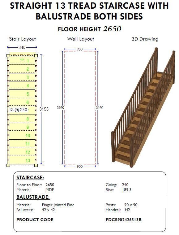 Straight 13 Tread staircase stairs with balustrade both sides for shed homes and houses