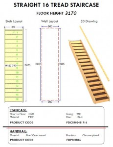 Straight 16 Tread staircase stairs with handrail for shed homes and houses stair and well layout and 3D drawing