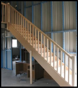 stairs with balustrade in shed