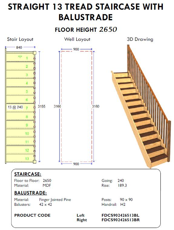 straight 13 tread staircase with balustrade for sheds and homes