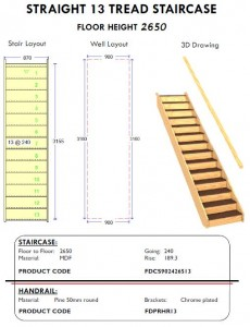 straight 13 tread staircase with handrail for shed homes