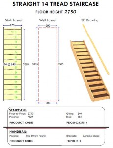 straight 14 tread staircase with handrail for sheds and homes, layout, well, drawing
