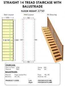 straight 14 tread stairs case with balustrade for shed or house