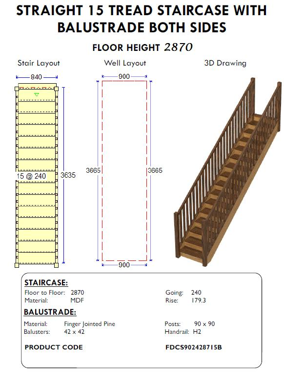 straight 15 tread staircase with balustrade both sides for sheds and homes