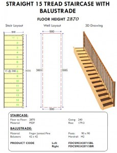 straight 15 tread staircase with balustrade for sheds and homes