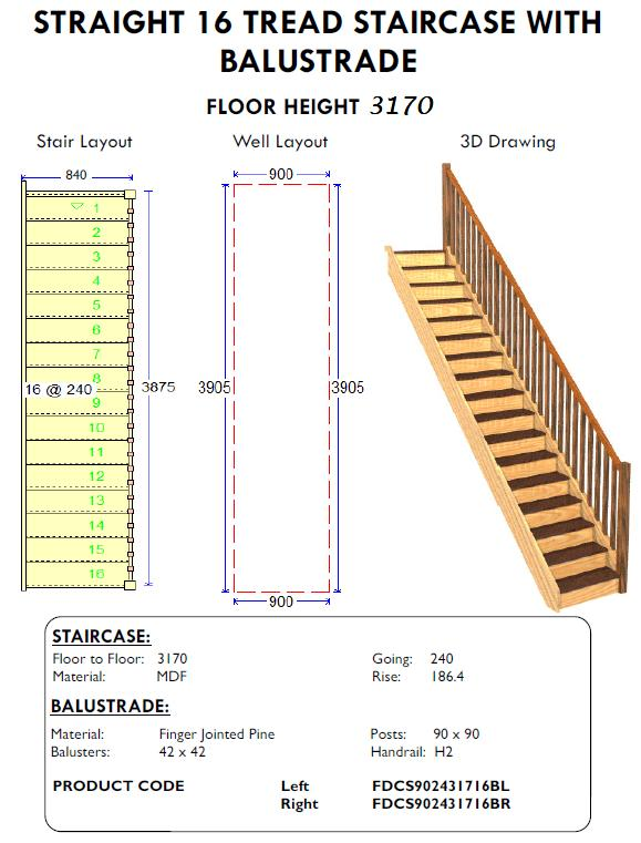 Straight 16 Tread Stairs With Balustrade For Sheds