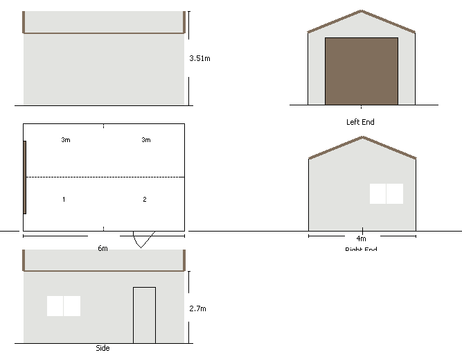 SP single 6 x 4 x 2.7 layout shed garage
