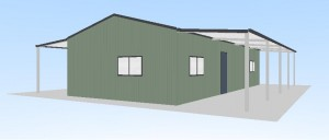 6 x 12 x 2.7 shed home with lean-tos 3d