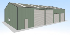 12x20x4.6 steel shed with 4 x roller doors