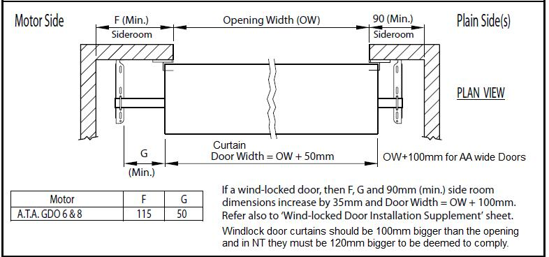 example drawing of roller door opening width diagram shed roller doors