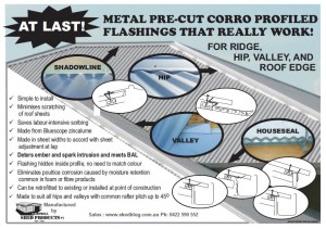 Roof ridge valley hip seal metal profile colorbond roof zincalume flashings corro