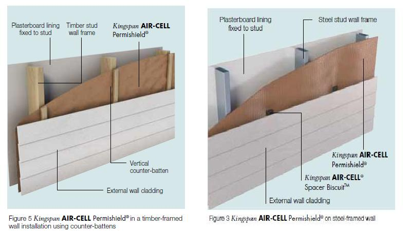 Kingspan permishield example of use on timber and steel frame wall
