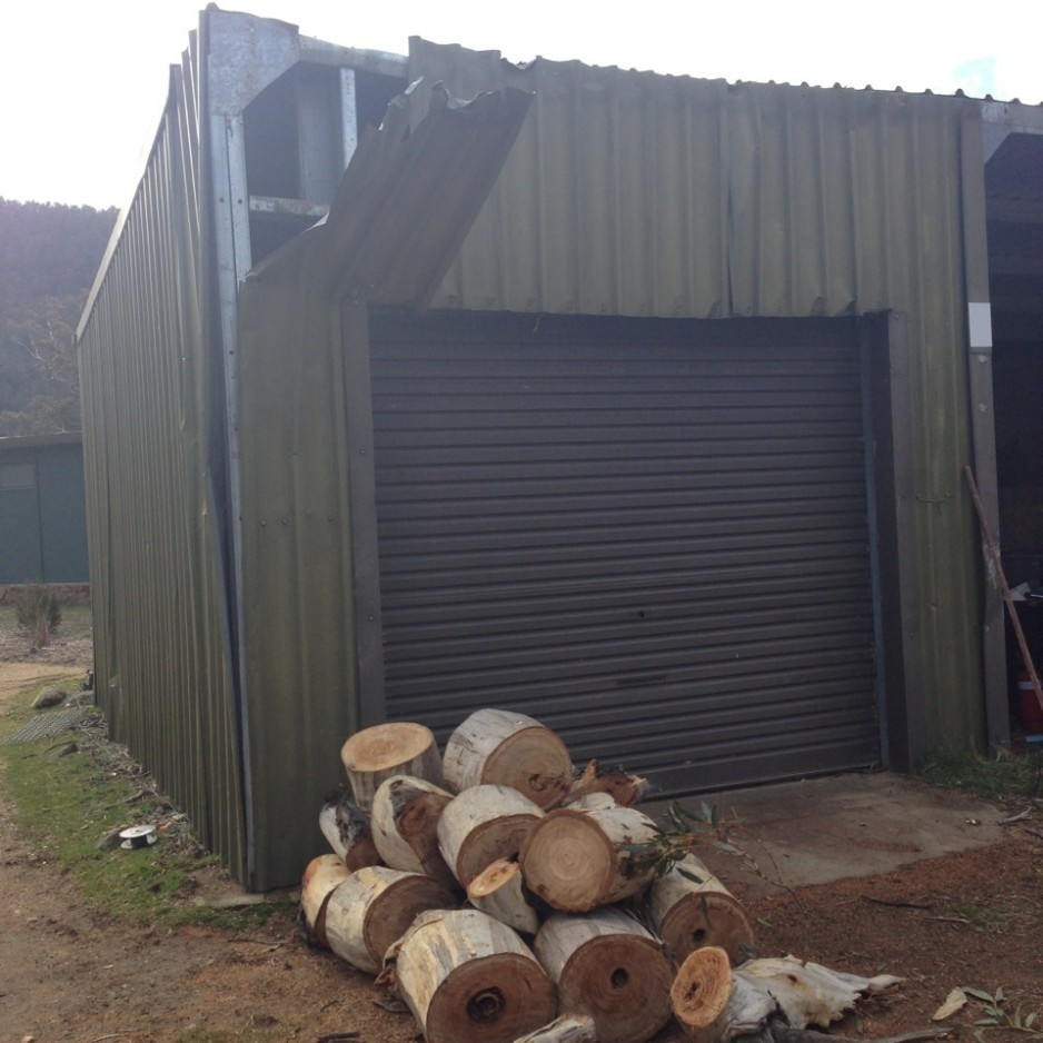 The shed at Crackenback NSW just after tree vs shed and ute incident.