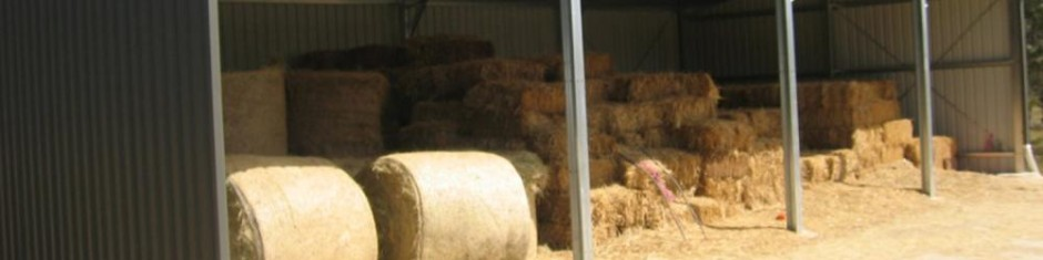 hay stored in a steel shed