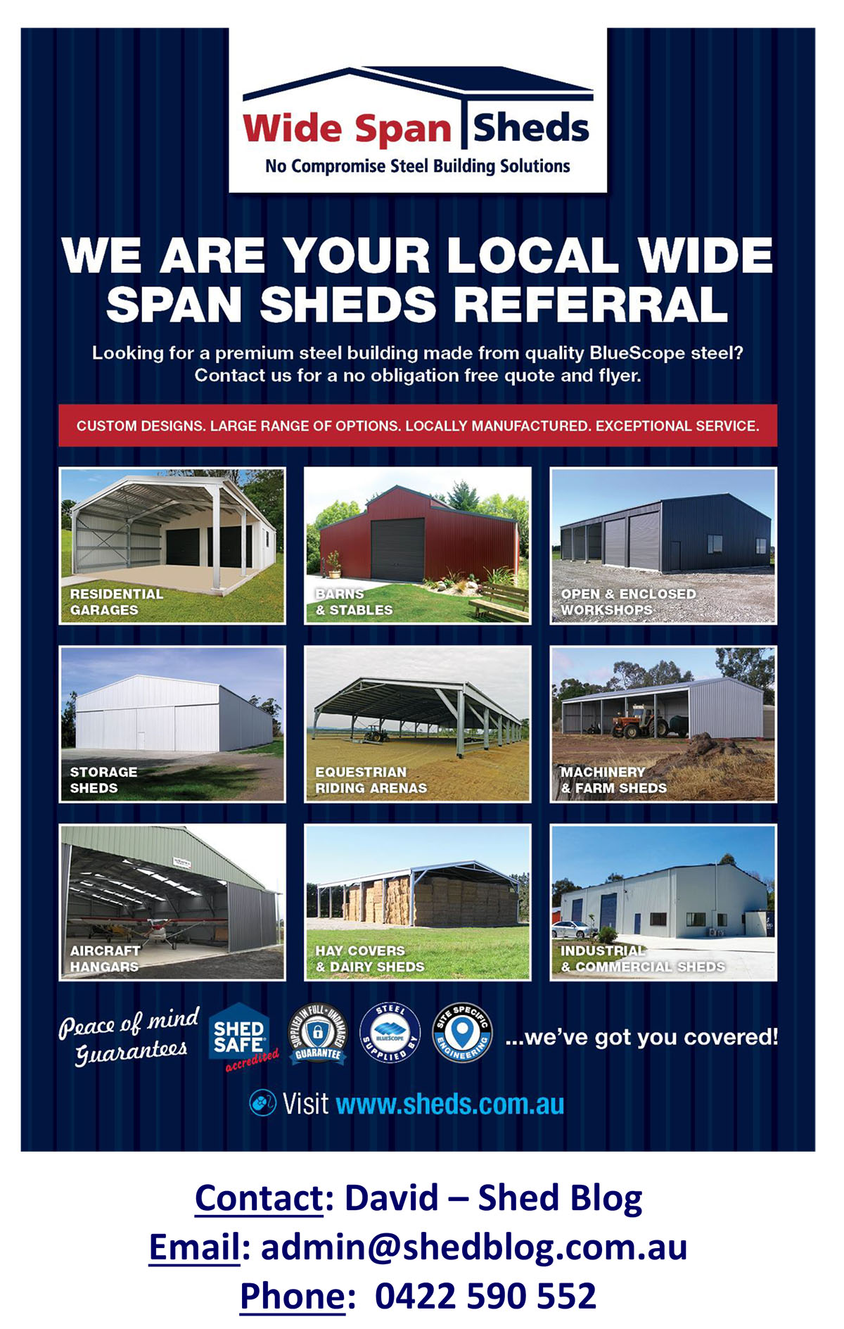 Customised Wide Span Sheds local agent flyer