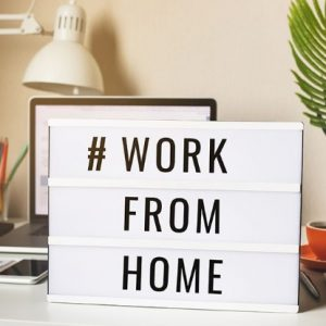 sign showing a notice - work from home