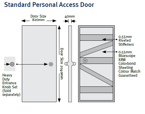 PA door leaf only Stramit Taurean Personal access door