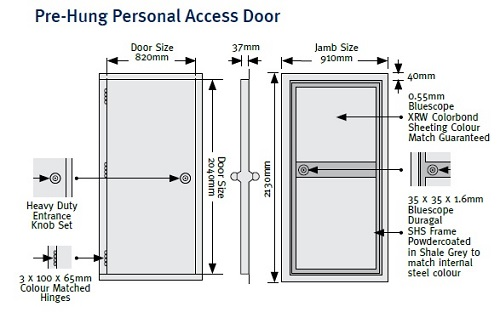 shedblog PA door Stramit Taurean Pre-hung Personal access door