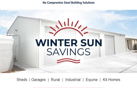 Wide span sheds winter sun savings – sale on now