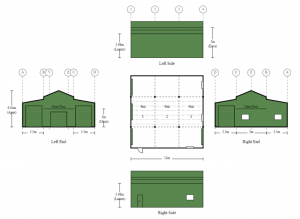 5m x 12m x 5m American Barn Shed with Mezzanine Roller Doors and a PA Door