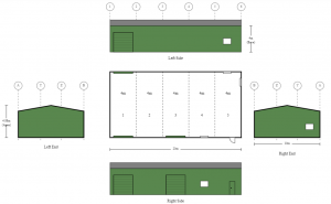 10m x 20m x 4m 5 Bays Colorbond Shed with 3 Roller Doors and PA Door