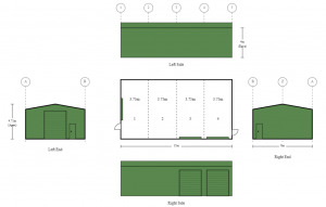 8m x 15m x 4m Colorbond Shed with 3 Roller Doors