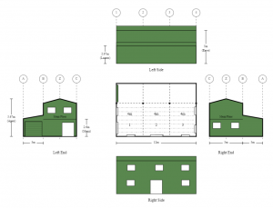 5m x 12m x 5m 3 Bay Colorbond Shed Home with Mezzanine Floor and Side Annex