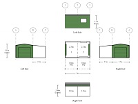 3.5m x 5m x 2.7m Small Colorbond Shed With 2 Bays and 2.5m Awning