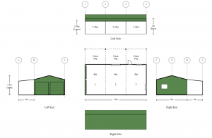 6m x 12m x 3m Long Double Garage with Side Awning