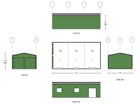 6M X 12M X 3M LONG DOUBLE GARAGE WITH OPENING FOR SLIDING GLASS DOOR