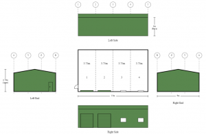 9m x 15m x 4m 4 Bay Shed with Two Roller Doors and Two Window Provisions