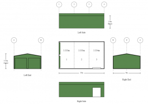 6m x 10m x 2.8m 10m Deep Double Garage with Frame Out for Sliding Glass Door