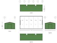 8m x 17.5m x 3.5m 5 Bay 2 Roller Doors Drive-Through End to End Shed