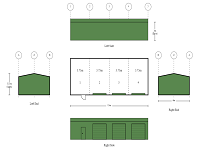 6m x 15m x 3m 4 Bay Colorbond Shed with 3 Roller Doors and 1 PA Door