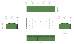 6m x 15m x 2.7m 5 Bay Shed with 5 x Roller Doors